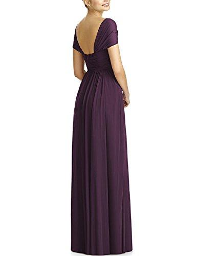 OYISHA Women's Long Bridesmaid Dresses Cap Sleeve Pleated Evening Dress BD44 Grape 24W