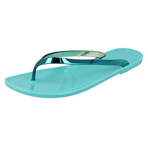Jelly Toepost Turquoise Blue Metal Flat On Spot wIqRA4S