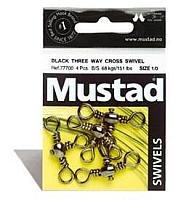 Mustad 3 Wayクロススイベル釣りターミナルタックル8パック、ブラック、サイズ4   B003CUDNOK