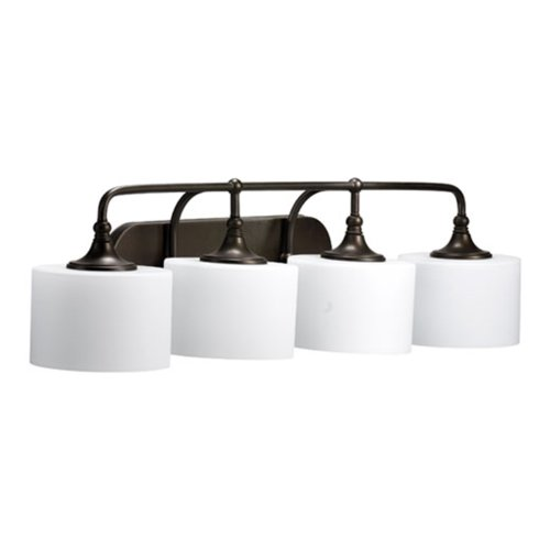 Quorum International 5090-4-86 Rockwood Collection 4-Light Vanity Fixture, Oiled Bronze Finish with Satin Opal Glass - Soho 4 Light Bath