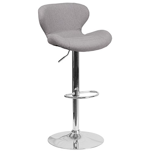 Flash Furniture Contemporary Gray Fabric Adjustable Height Barstool with Chrome Base ()