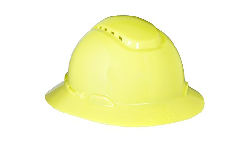 3M Full Brim Hard Hat H-809V, 4-Point Ratchet Suspension, Vented, Hi-Vis Yellow Hi Hat System