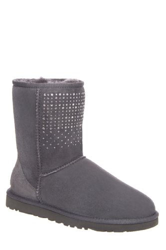 New UGG Classic Short Bling Sheepskin Boot Grey Suede Ladies 10
