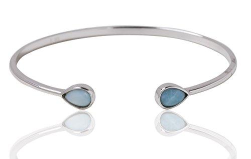 BEAN & VANILLA Larimar Stone Teardrop Bangle Bracelet in Italian Sterling Silver by BEAN & VANILLA