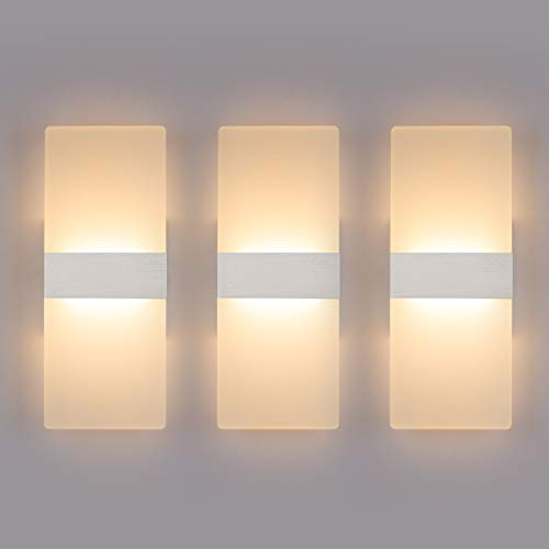 Modern LED Wall Sconce Lighting Fixture Lamps 12W Warm White 2700K Up and Down Indoor Acrylic Wall Lights Not Dimmable for Living Room Bedroom Hallway Conservatory(3 Pack)