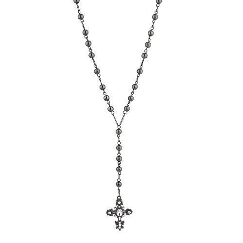 Lux Accessories Crystal Black Rosary Catholic Rhinestone Long Cross Beads Chain Necklace