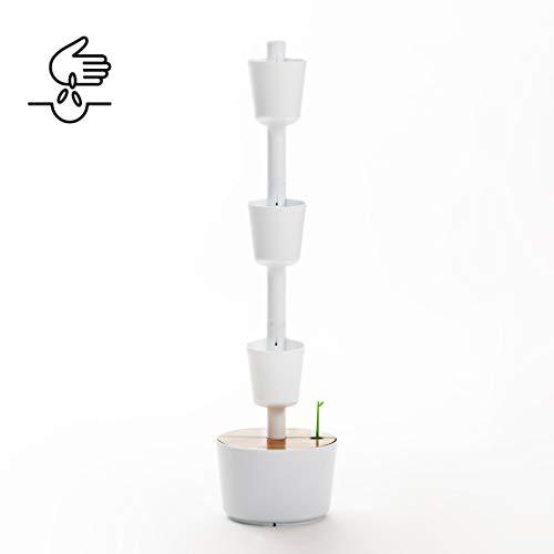 Kit Huerto urbano vertical con autorriego digital, blanco, 3 ...