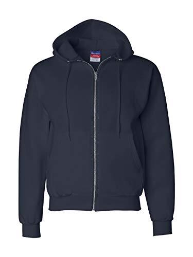Cotton Stretch Zip Hoodie - Champion Double Dry Action Fleece Full Zip Hood S800, M, Navy