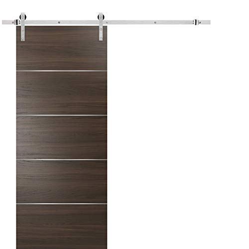 Barn Sliding Brown Door 42 x 96 with Stainless Steel Hardware | Planum 0020 Chocolate Ash | Rail 8FT Hangers Silver Set…