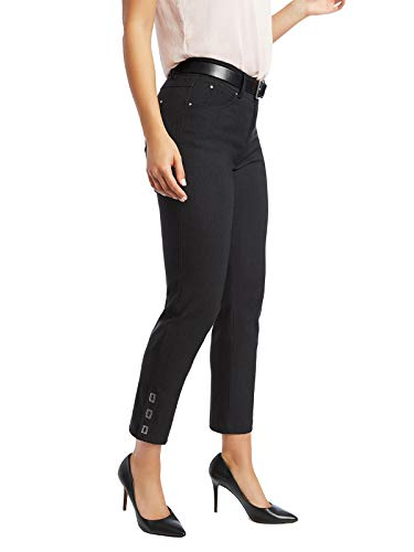 89th + Madison Women's Buckle Cuff Stretch Straight Leg Pants Charcoal Heather Grey (Five Buckle)