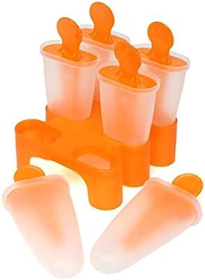 Molde de helado para hacer palos de helado, color naranja, 6 ...