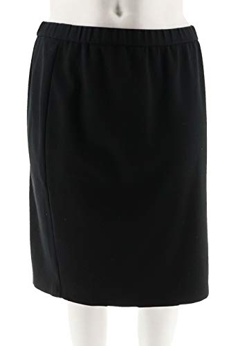 Joan Rivers Wardrobe Builders Ponte Knit Pull-On Skirt Black L New A293818 ()
