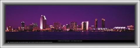 Christian Michaels Poster Art Print and Frame (MDF) - San Diego Skyline (37 x 13 - Los Diego Outlet Americas San