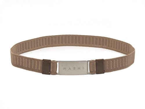 Marni Elastic Silver Face Belt, Tan, Medium