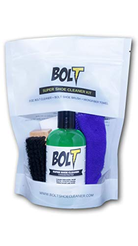 Bolt Premium Shoe Sneaker Cleaner Kit - Shoe Brush, 8 Oz. Concentrated Solution (2 Quarts After Dilution), Microfiber Towel. Biodegradable, All-Natural. Safe on Vinyl, Rubber, Fabrics, Canvas, Leather by BOLT (Image #3)