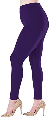 Plus Size Premium Quality Extra Soft Leggings for Tall and Curvy - Deep Purple