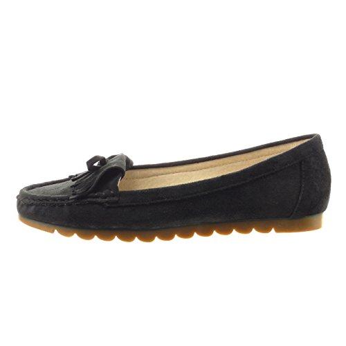 Sopily - Zapatillas de Moda Bailarinas Tobillo mujer fleco nodo Talón Tacón ancho 1 CM - Negro