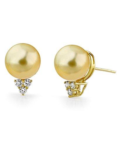 Golden South Sea Cultured Pearl & Diamond Sea Breeze Earrings in 18K Gold