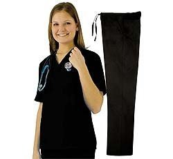 Nursing Uniform (Women's Scrub Set - Medical Scrub Top and Pant, Black,)