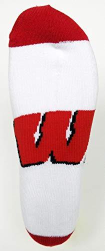 - NCAA Wisconsin Badgers Footie Socks, White/Red