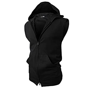 H2H Mens Casual Slim Fit Zip-up Hoodie Vest Lightweight Sleeveless Hooded