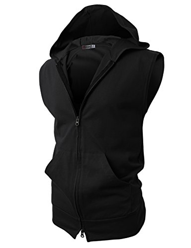 (H2H Men's Lightweight Active Sleeveless Hoodie Zip-up Vest Workout Tank Top Black Asia XXL (JPSK13_N25))