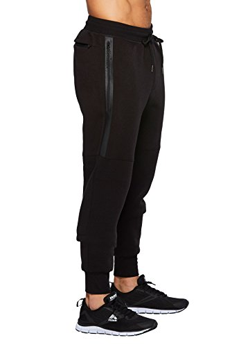 RBX Active Men's Fleece Jogger With Bonded Pocket Black M