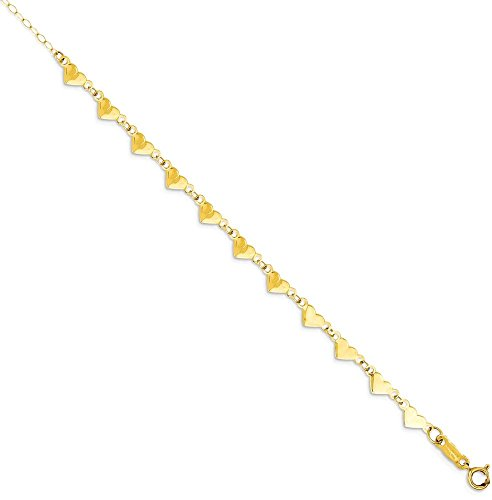 ICE CARATS 14k Yellow Gold Oval Cuban Link Chain Hearts 1 Inch Adjustable Plus Size Extender Anklet Ankle Beach Bracelet Fine Jewelry Gift Set For Women Heart by ICE CARATS
