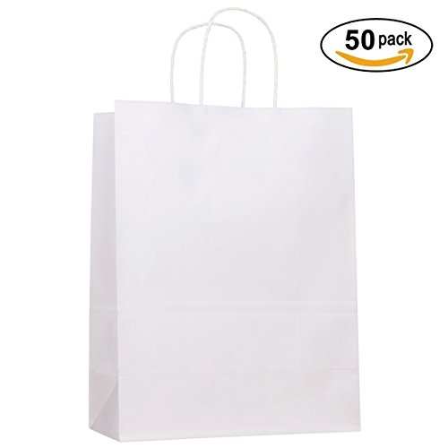 Paper Grocery Bags With handles, Senior, Ideal For Shopping, Merchandise, Retail, Party, Gift Bags, (13x7x17, White) Pack of 50