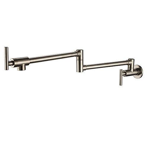 Homili Foldable Wall-Mount Retractable Pot Filler Kitchen Faucet Cold Only with Dual Swing Joints (Brushed nickel)