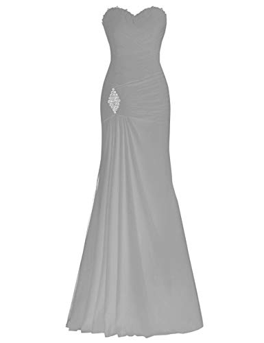 Bridal Steel up Dress Chiffon Lace Grey Bess Women's Evening Beaded Prom Party Mermaid gUCqU