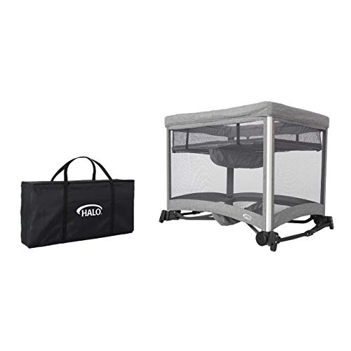 31Z3Uo4rj5L - HALO 3-in-1 DreamNest Plus Bassinet, Portable Crib, Travel Cot With Rocking Attachment, Breathable Mesh Mattress, Easy To Fold Pack And Play