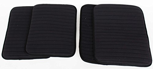 Professional Equine Horse Grooming Care Quilted Set-of-4 Cotton Leg Wraps Black 95F01BK ()