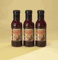 Raspberry Roasted Sauce (Three 15-oz Bottles of Bronco Bob's Roasted Raspberry Chipotle Sauce)