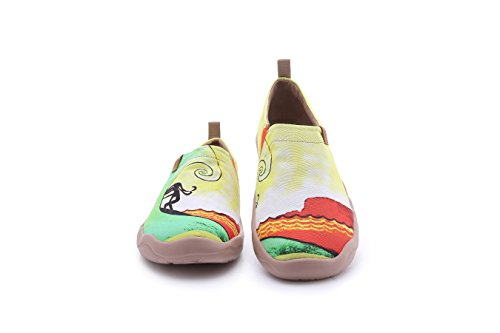 UIN Men's Hawaii Surfing Canvas Colorful Travel Loafer Shoes Yellow (9.5) by UIN (Image #1)