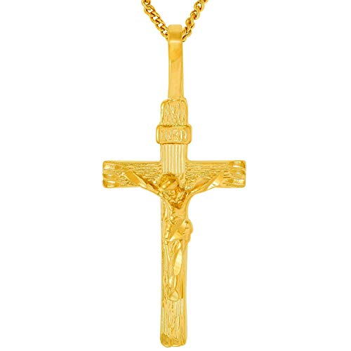 24k Chain Crucifix - Lifetime Jewelry Cross Necklace [ Gold Crucifix Pendant and 20 inch Chain ] with up to 20X More 24k Plating Than Other Crucifix Necklace - INRI Crucifix with Free Lifetime Replacement Guarantee