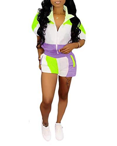 Women Two Piece Outfits Tracksuit - Casual Zipper Jacket Top + Sport Shorts Sweatsuits Set Purple ()
