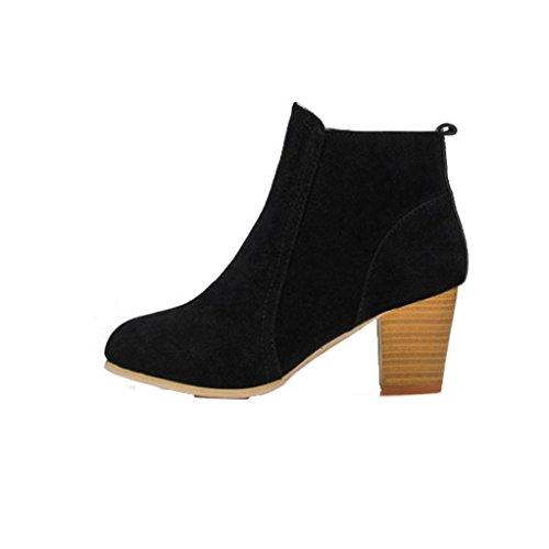 Overmal Femmes Automne Hiver Chaussures Bottes Avec Zipper Side Talons Martin Boots Noir