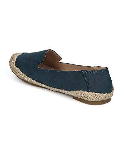 Alrisco Women Espadrille Capped Toe Slip on Flat - Walking Casual Beach Everyday Lounging - HE84 by Refresh Collection Navy Mix Media VU1hHV