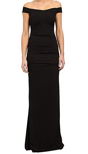 Nicole Miller Women's Twill Crepe Off The Shoulder Gown, Black, 10
