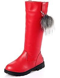 Girls Waterproof Pom Pom Back Zipper Fur Tall Riding Boots (Toddler/Little Kid/