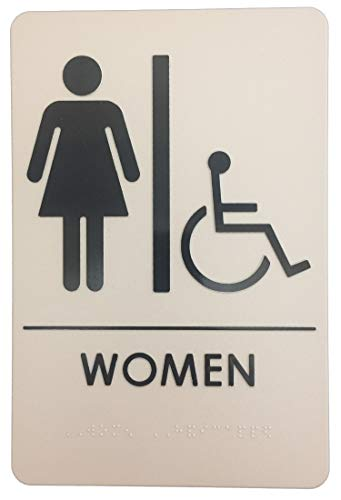 Premier Colors - Women/Wheelchair ADA Compliant Restroom Sign - Includes Adhesive Tape and Instructions (1 Sign, Taupe) ()