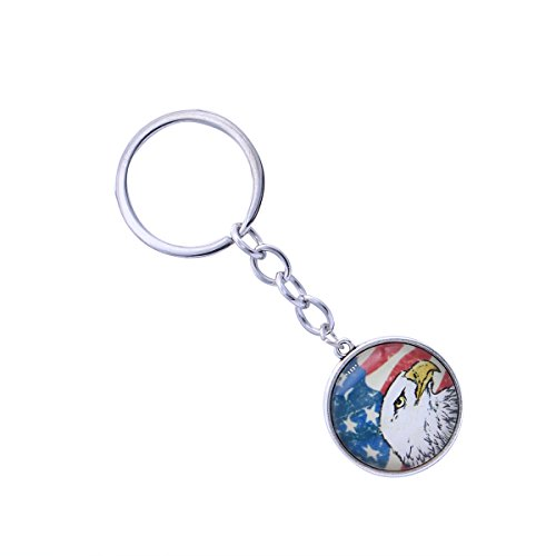 10Pcs Bald Eagle Key Chain Exquisite American Flag Art Antique Charm USA Flag Keychain Vintage Jewelry (Silver) ()