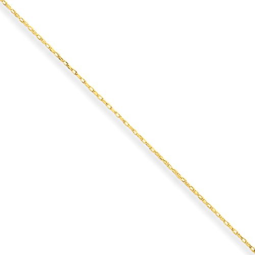 0.5mm, 14k Yellow Gold, Cable Rope Chain Necklace, 24 Inch