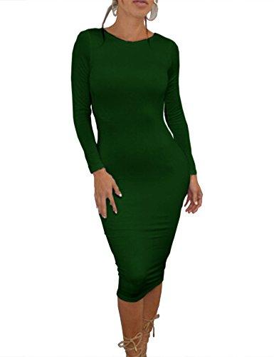 Party Dress Dresses Evening Sleeve Backless Bodycon Long Darkgreen Clubwear Women's Haola YqIUx1SU