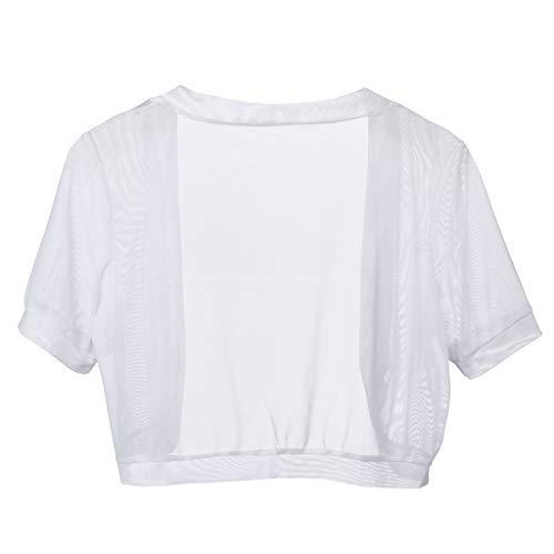 - MOGOV Fashion Womens Chiffon Short Sleeve Solid Shrug Open Front Bolero Cardigan Tops White