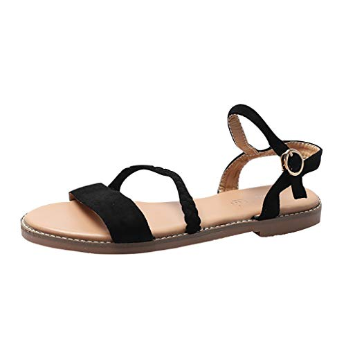 ✔ Hypothesis_X ☎ Women's Open Toe Summer Flat Sandals Bohemian Buckle Flat Sandals Casual Shoes Black