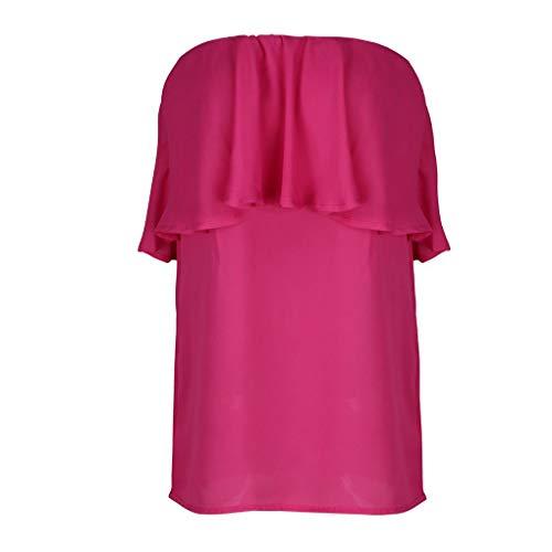 Mousseline Masterein Femmes Manches Slash sans Volants Club Beach Neck Encolure rose rouge Chemisier rrCvwqR