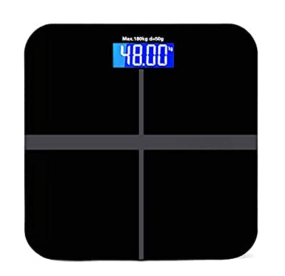 Black Smart Weigh Body Digital Precision Scale 400lb/180kg with Step-On Technology Easy-to-Read Measures Weight AAA Glass Square