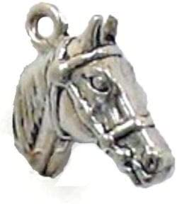2 Antiqued Silver CLASSIC HORSE HEAD w// BRIDLE Charms Lobster Clasp COOL FIND!